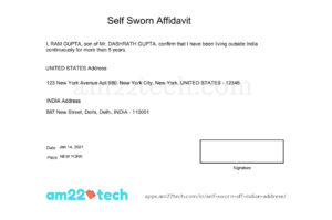 Sample Self-Sworn Affidavit