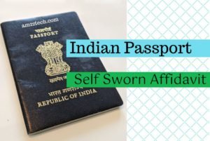 Self Sworn Affidavit - Indian passport