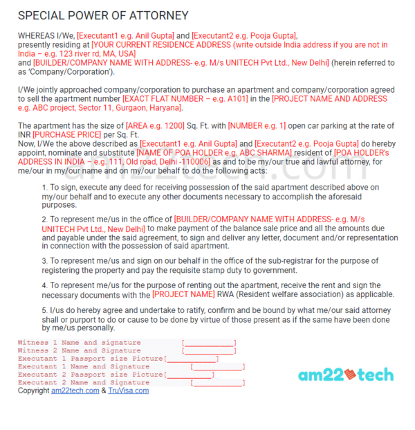 Indian power-of-attorney sample