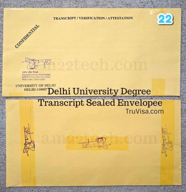 Delhi University Sealed Envelope Transcript for visa, Immigration