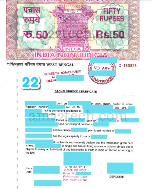 Bachelorhood Certificate Sample India